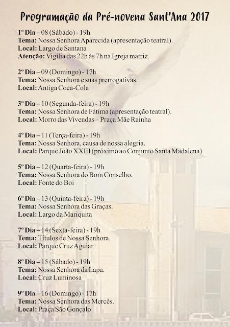 Paróquia de Sant'Anna divulga Programação da Pré-Novena da Padroeira