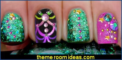Orly Green Shimmery Glitter Nail Polish-ocean themed nail art desigm