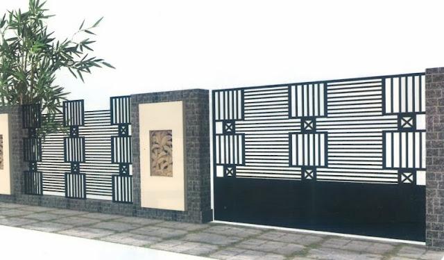 Model pagar rumah minimalis type 45 Gaya Modern