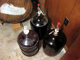 The three carboys: dry hops, squash, and blackberries.