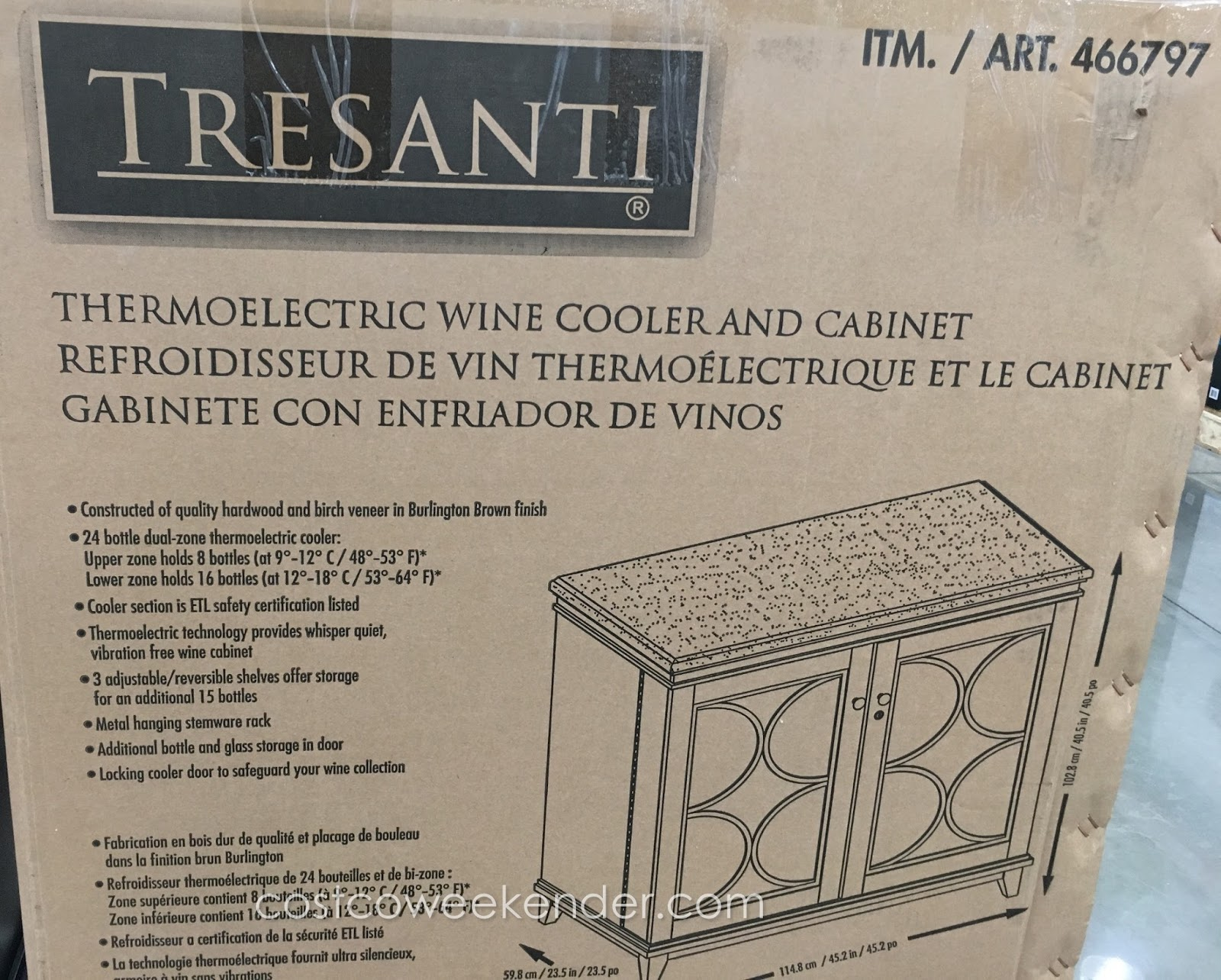 Tresanti Thermoelectric Wine Cooler Amp Cabinet Costco