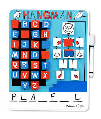 front side of Melissa and Doug's wooden Hangman game with flip-over tiles