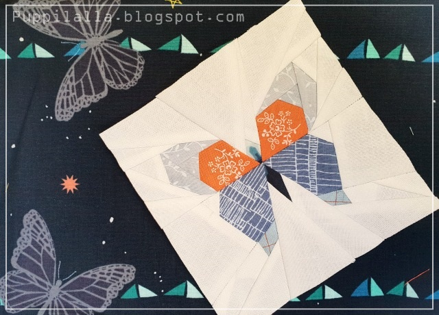 Puppilalla, Shape Moth, FPP, Paper Foundation Piecing, Lillyella, Patchwork, Buttertfly Charm Block,