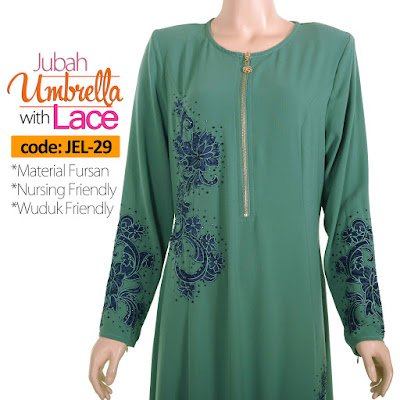 Jubah Umbrella Lace JEL-29 Sea Green Depan 5