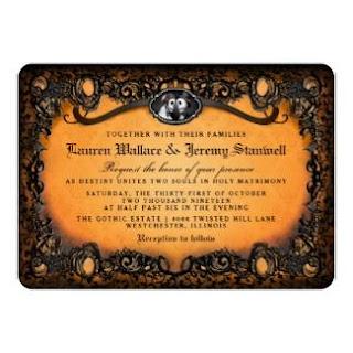 Orange Black Halloween Skeletons RECEPTION INFO Wedding Invitation