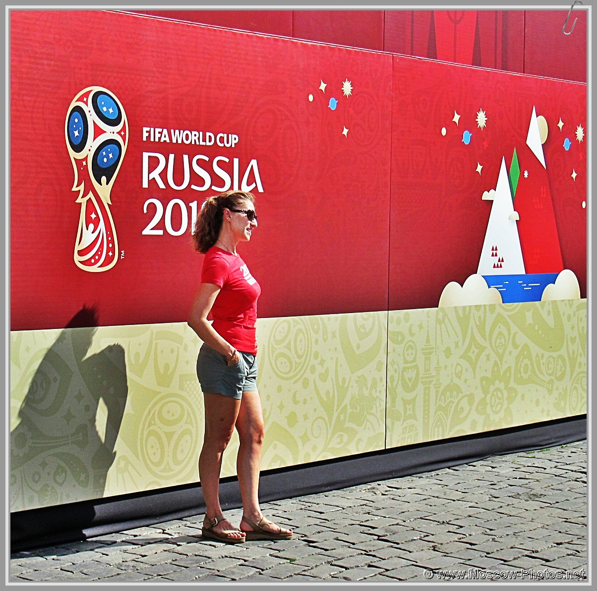 Football girl on Red Square in Moscow during the 2018 FIFA World Cup