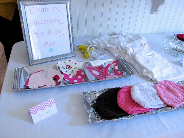 accessory station for baby shower