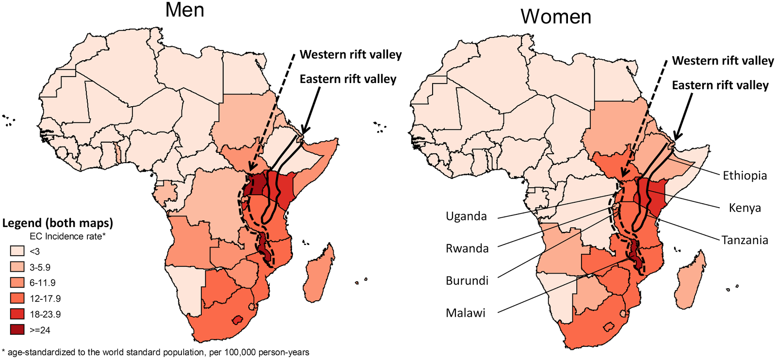 map of esophageal cancer in africa