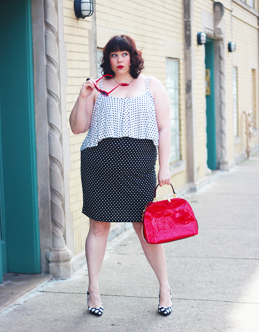 Style Plus Curves in Black and White Polka Dot Plus Size Dress and Red Heart Sunglasses