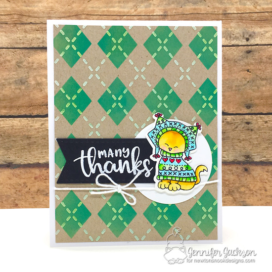 Sweater Thank you Card by Jennifer Jackson | Sweater Weather Stamp Set and Argyle Stencil Set by Newton's Nook Designs #newtonsnook #handmade