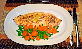 Fish Fillet with Peas and Carrots for Dinner
