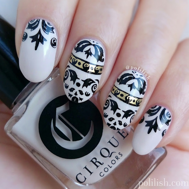 Damask ornate nail art design with Harunouta stamping plate | polilish