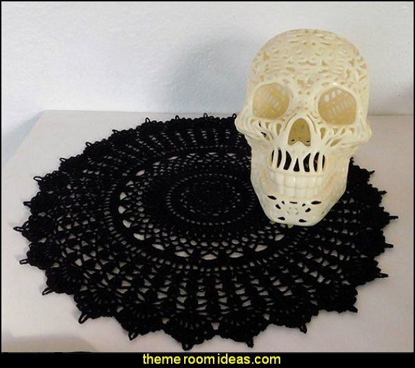 Black Lace Crochet Doily, Gothic Home Decor