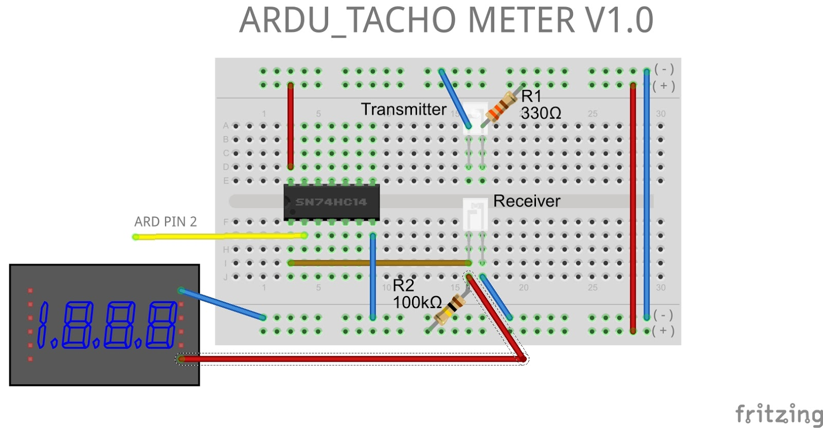 08 Arduserie Ardu Tacho Meter V10 Jungletronics Asymmetrical Inverting Schmitt Trigger Electronics Tutorial The Components Are 74hc14 330r 100k Ir Til78 Til32 Multimeter Cooler 12v 026a Arduino Uno And Curiosity