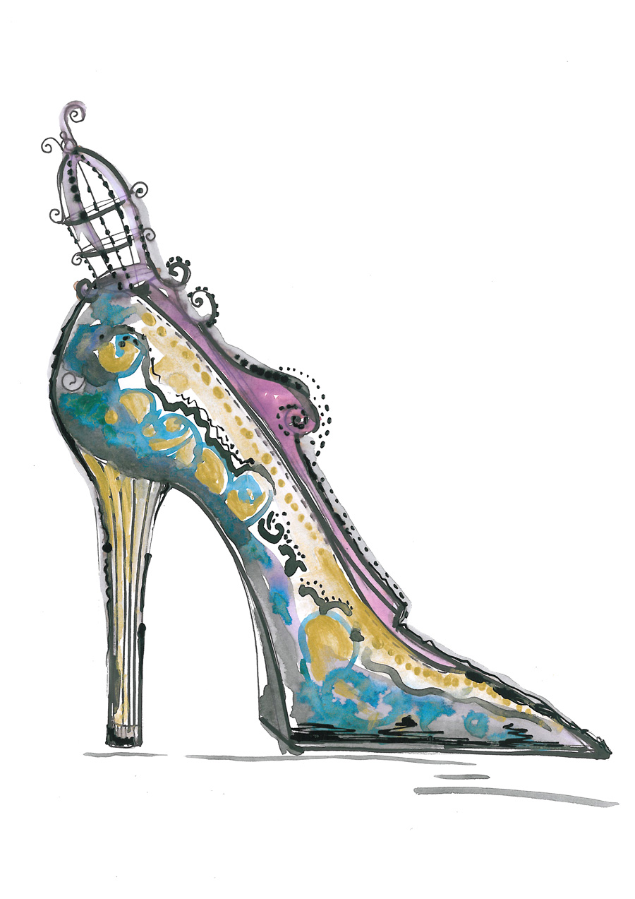 Watercolor Fashion Illustration Steampunk Shoe