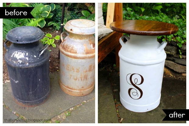 vintage milk jug before and after