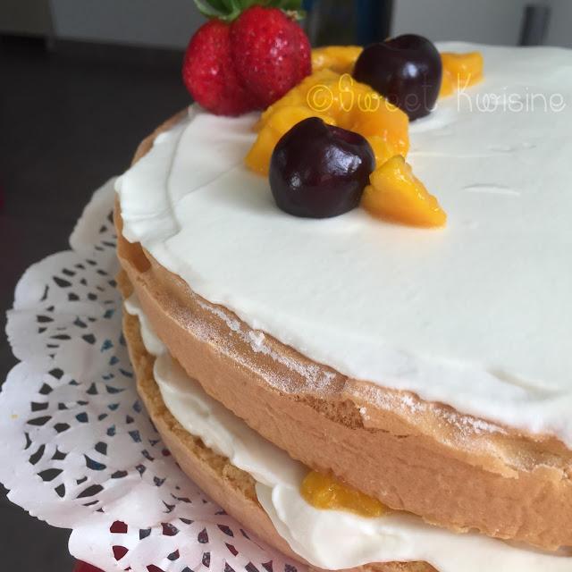 sweet kwisine, génoise, mangue, fruit de la passion, gâteau d'anniversaire, chantilly, mascarpone, vanille, cuisine antillaise, Martinique, Guadeloupe