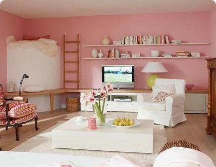 sala paredes rosa