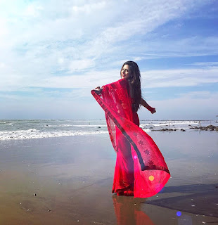 Bidya Sinha Saha Mim In Red Saree On See Beach