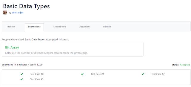 """Hacker Rank Solution Program In C++ For """"Basic Data Types """""""
