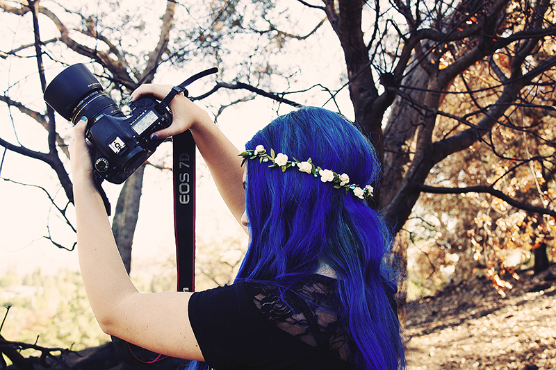 blue hair flower crown