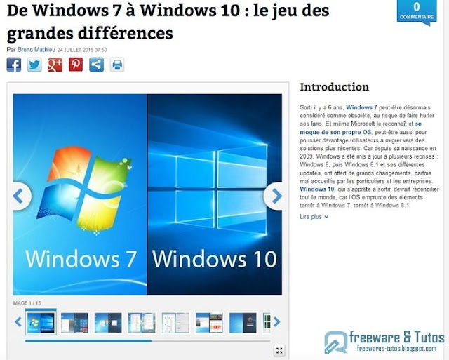 Le site du jour : comparatif Windows 7 vs Windows 10 avant la migration vers le nouvel OS de Microsoft