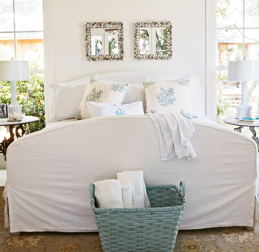 Square Oyster Shell Mirrors Currey and Company in Coastal Bedroom