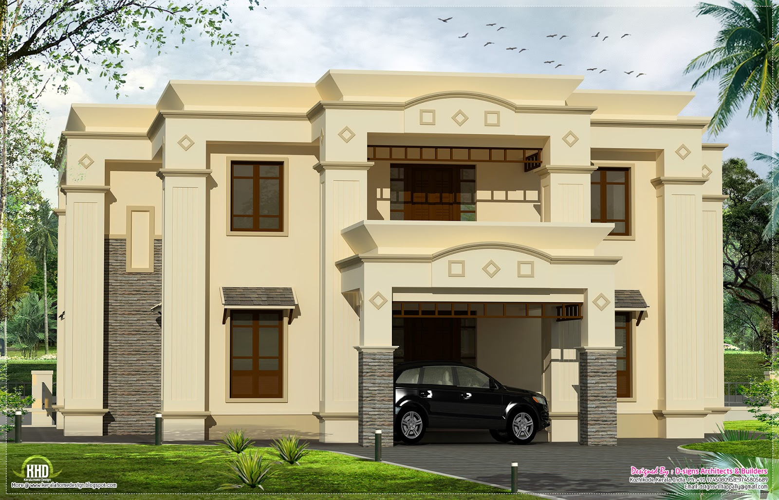 2700 luxury home kerala home design and floor plans for 300 sq ft house plans in india