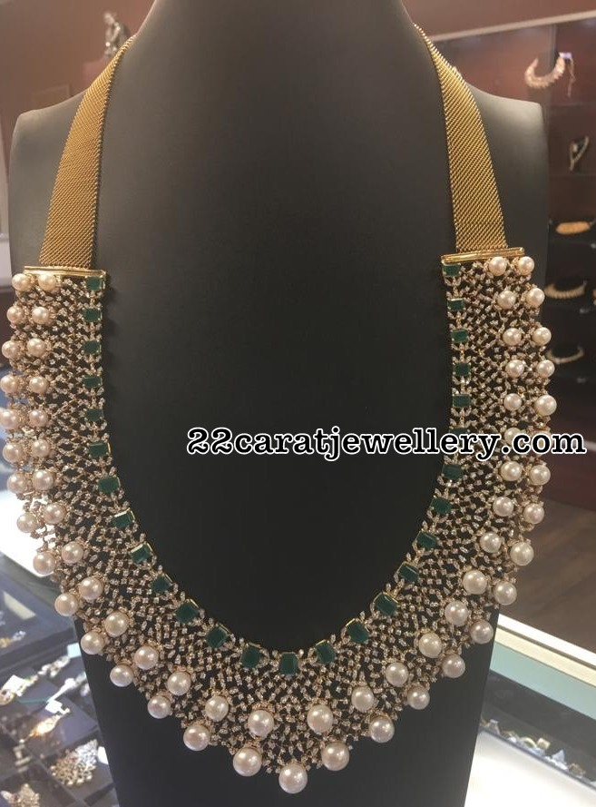 Two Rows Pearls Studded Diamond Haram