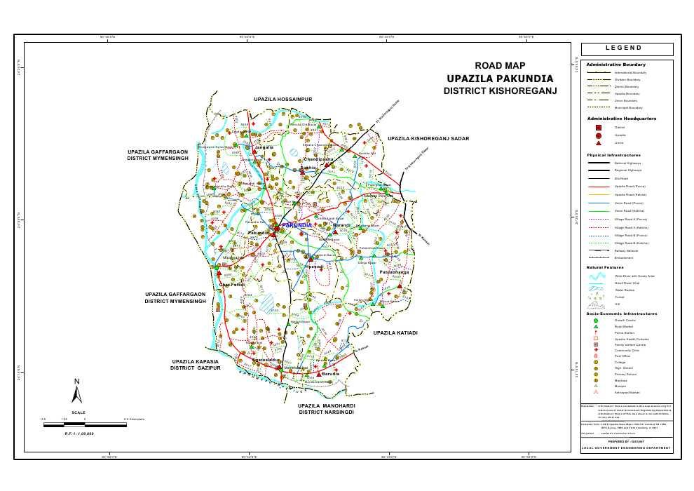 Pakundia Upazila Road Map Kishoreganj District Bangladesh