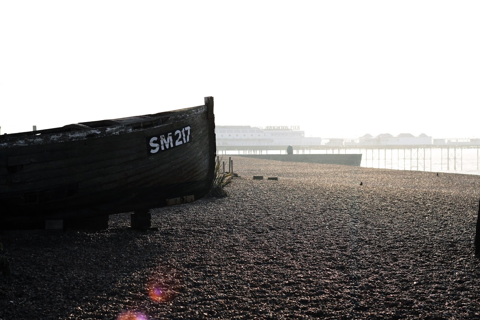 Old boat at Brighton Beach in Winter
