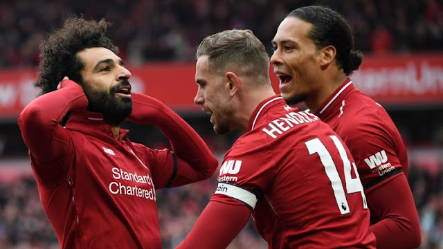 Liverpool FC Mohamed Salah Celebrates with Van Dijk