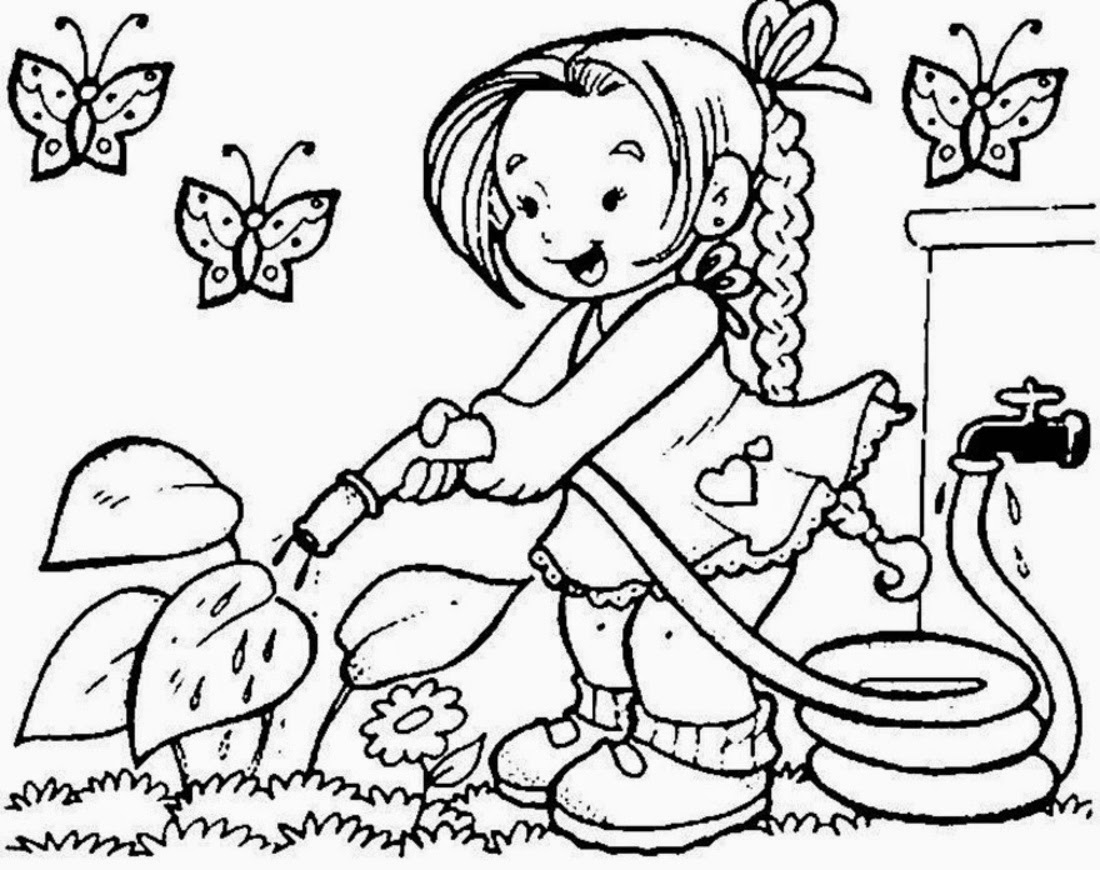 Watering Plant Coloring Pages - free kids coloring pages