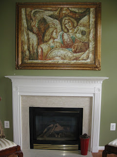Fireplace before being upgraded all the way to the ceiling.