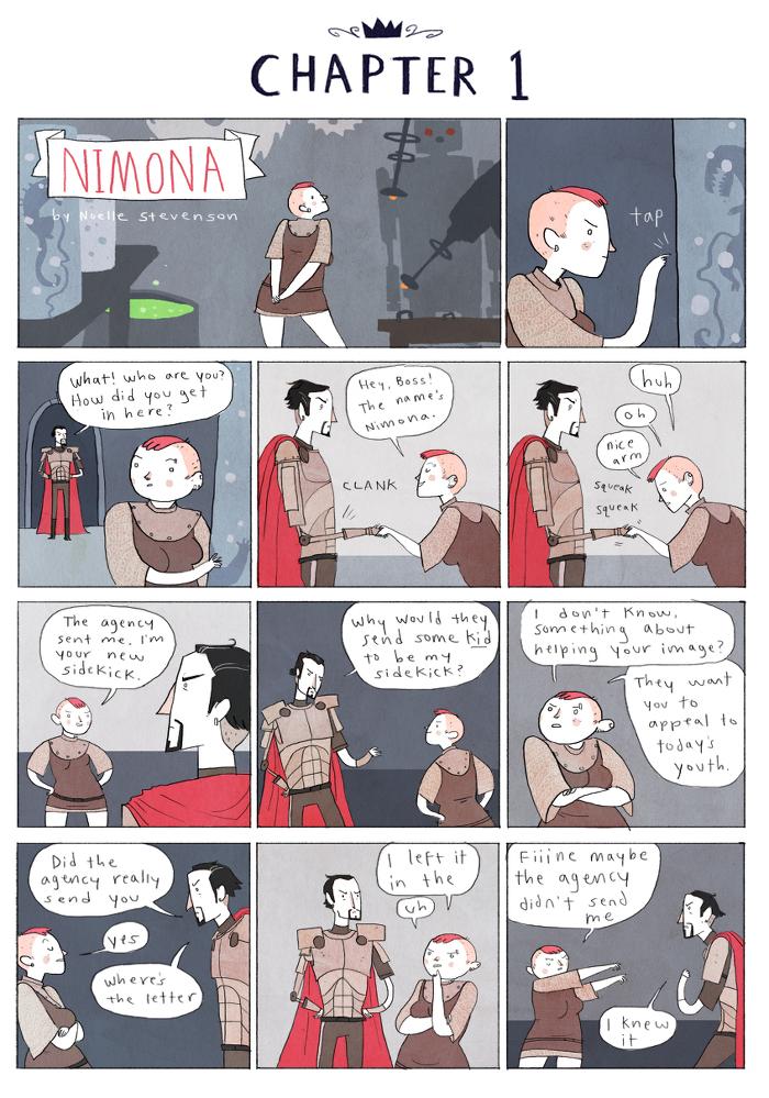 Nimona, fumetti, recensione, Noelle Stevenson, young adult