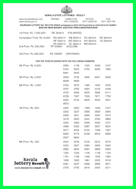 kerala lottery results  03-02-2019 POURNAMI LOTTERY result rn 377, kerala lottery, kerala lottery result, kerala lottery result today