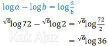 Mengubah  bentuk logaritma: log a - log b = loga a/b