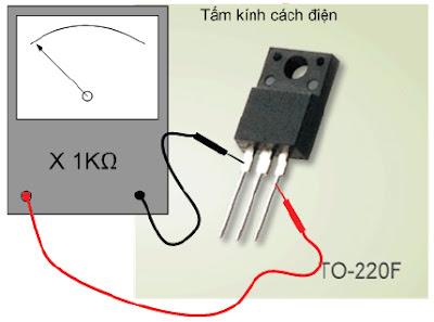 Hình 8c - Nạp dương cho G  bằng cách đặt que đen của đồng hồ vào cực G