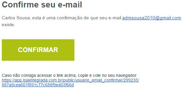 confirmação de email loja virtual integrada