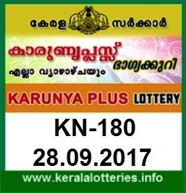 Kerala Lottery Result Karunya Plus (KN-180) on September 28,  2017