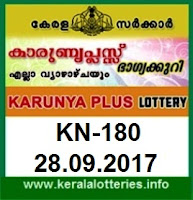 Kerala Lottery Result Karunya Plus (KN-180) on September 28,  2017
