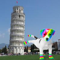 El perro arcoíris sonríe en Cice en la Torre de Pisa.
