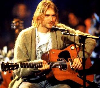 Foto de Kurt Cobain con su guitarra