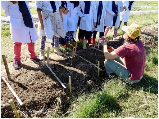 Grupo de escolares escuchando las indicaciones de una docente de la Chacra - Chacra Educativa Santa Lucía
