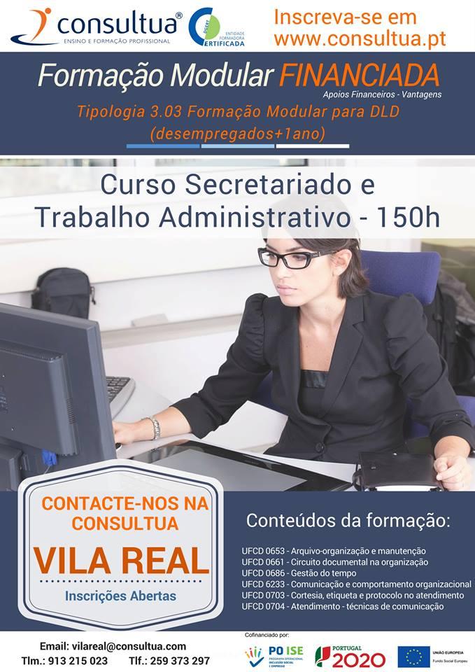Curso financiado de secretariado e trabalho administrativo em Vila Real