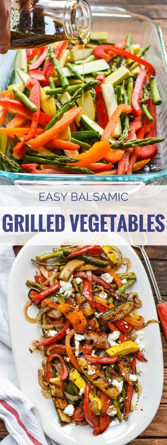 Easy Balsamic Grilled Vegetables with Goat Cheese #easyrecipes #balsamic #grilled #vegetables #veggies #vegetarianrecipes #veganrecipes #goatcheese