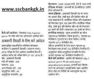 UPSSSC Excise Constable Recruitment 2016 Abkari Sipahi Bharti