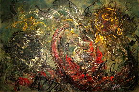 Lukisan Affandi Perahu dan Matahari