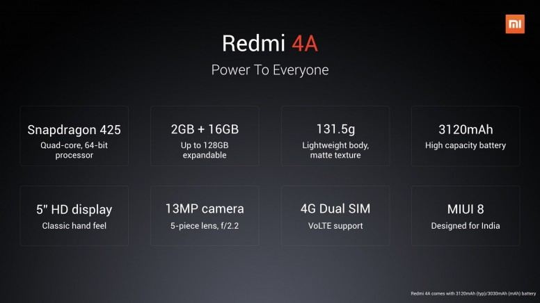Redmi 4A, Red Mi4A