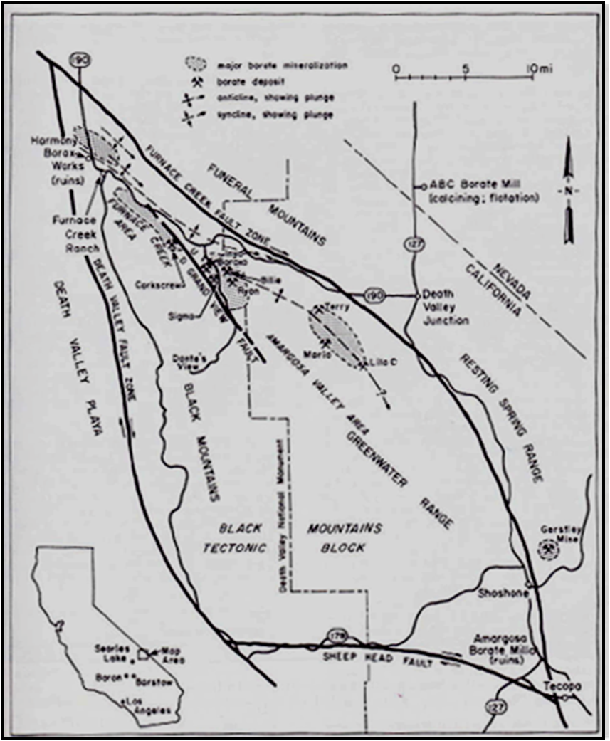 was mined underground by american borate company the north south road that leads to the shaft is immediately east of the national monument boundary